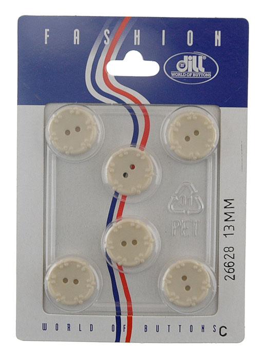Пуговицы Dill, диаметр 13 мм, пластик, 6 шт. 026628/13-6026628/13-6