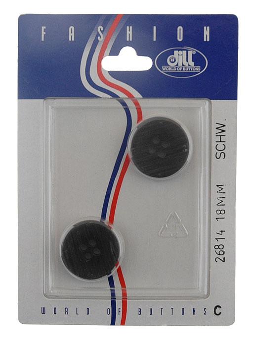 Пуговицы Dill, диаметр 18 мм, пластик, 2 шт. 026814/18-2026814/18-2