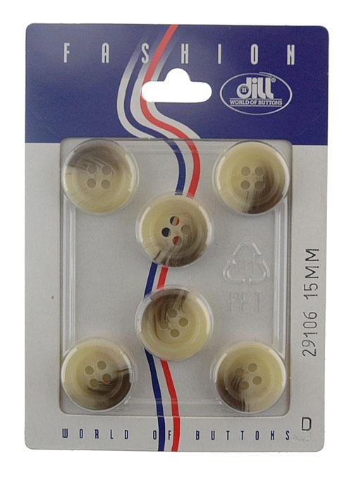 Пуговицы Dill, диаметр 15 мм, пластик, 6 шт. 029106/15-6029106/15-6