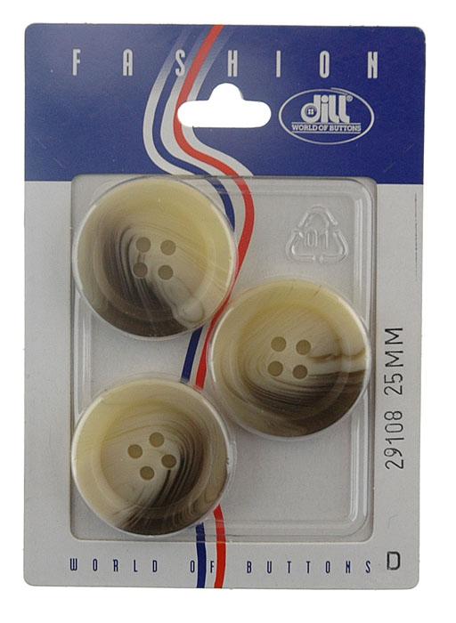Пуговицы Dill, диаметр 25 мм, пластик, 3 шт. 029108/25-3029108/25-3