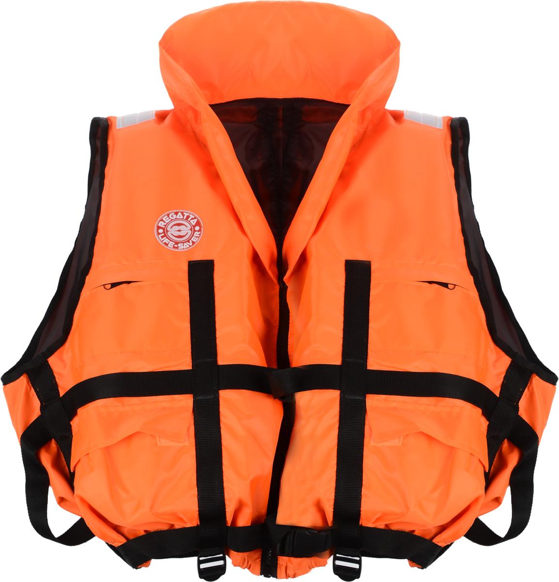 Жилет спасательный Плавсервис Regatta, цвет: оранжевый. Размер 66-72, вес до 140 кг57556Жилет Плавсервис Regatta - серьезно заявляет свои намерения на спасение человеческой жизни на водах. Более функциональный и эргономичный жилет за счет изменения конструкции спинки и проймы, которая позволила обеспечить наиболее полное облегание тела владельца и усилила надежность правильной фиксации этого жилета при попадании человека в воду. В воде с помощью элементов плавучести этот жилет перевернет владельца в положение лицом вверх и удержит под углом к горизонту так, чтобы обеспечить безопасное положение головы над водой. В комплект жилета входят регулировочные ремни, светоотражающие полосы, карманы, молния, свисток, подголовник с воротником. На груди предусмотрено два кармана на молнии, а также имеются два удобных объемных боковых кармана с клапаном на липучке. Высокий подголовник хорошо держит голову владельца на плаву и в тоже время обладает достаточной гибкостью для складывания жилета при транспортировке. Лямка выполнена из...