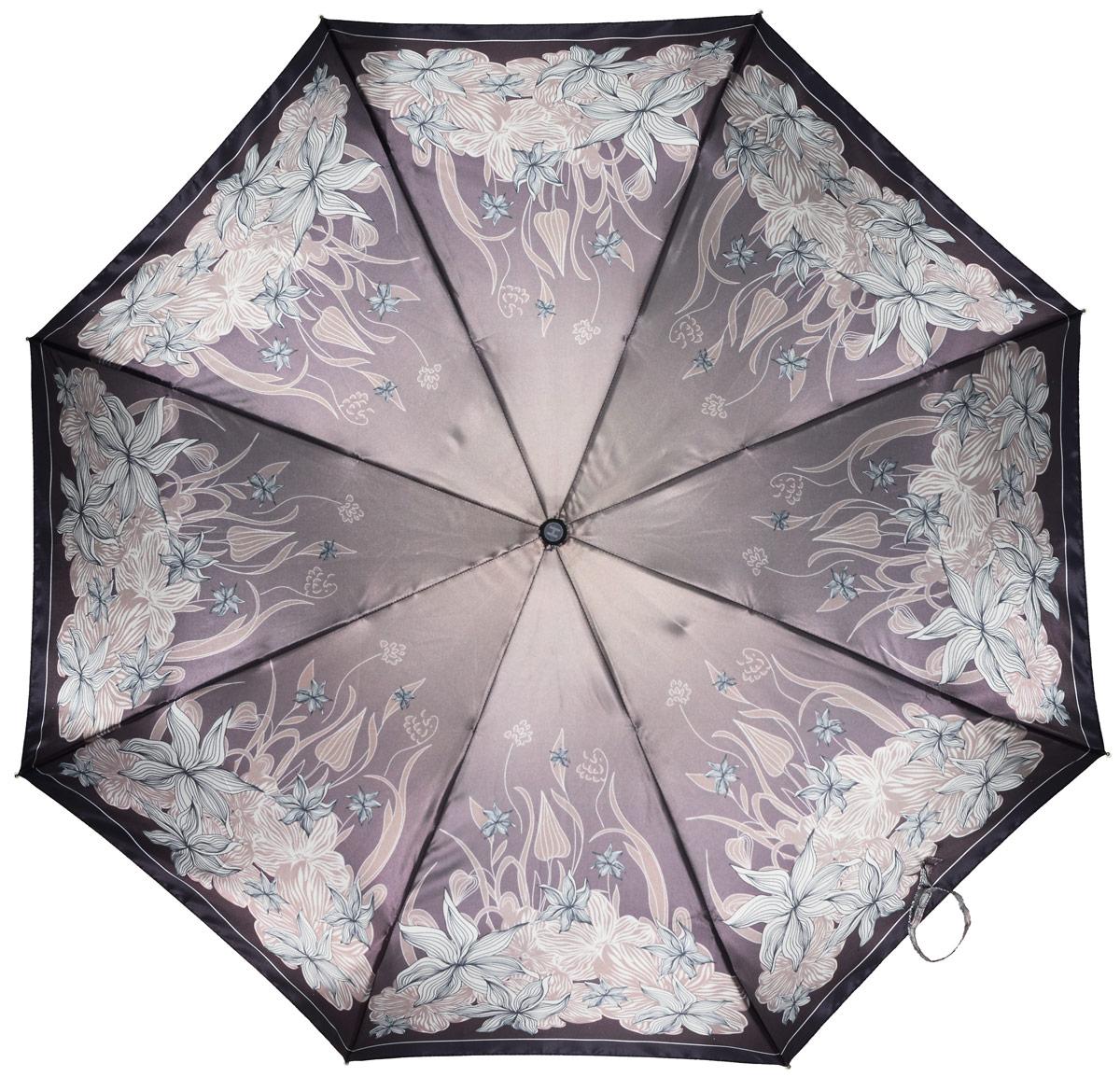 Зонт женский Henry Backer, 3 сложения, цвет: бежевый. U23204 Crown daisyU23204 Crown daisyЭлегантный женский зонт «Хризантемы» с сатиновым куполом, автомат У зонта комфортная для ладони рукоять из нескользящего материала с насечками под пальцы, чтобы зонт было удобно удерживать при порывах ветра.