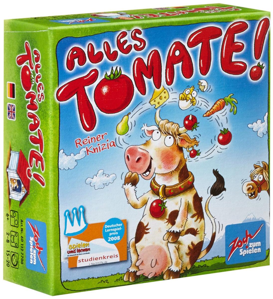 Zoch Настольная игра Аллес Томате4015682277004Настольная игра Zoch Аллес Томате - это быстрая игра на память, а главное реакцию. Легкомысленная и динамичная, с симпатичным оформлением. На этот раз тема - фермерское хозяйство - соответственно на картах будут изображения разнообразных плодов, домашних животных, аппетитных продуктов и прочих сельскохозяйственных прелестей. Игроки должны запоминать предметы, находящиеся на закрытых картах, а в момент появления из колоды карты той же темы, первыми выкрикнуть название предмета с закрытой карты. Время игры: 15-20 минут. Состав игры: 7 тематических карт с фоном 7 разных цветов, 49 фермерских карт с фоном 7 разных цветов.