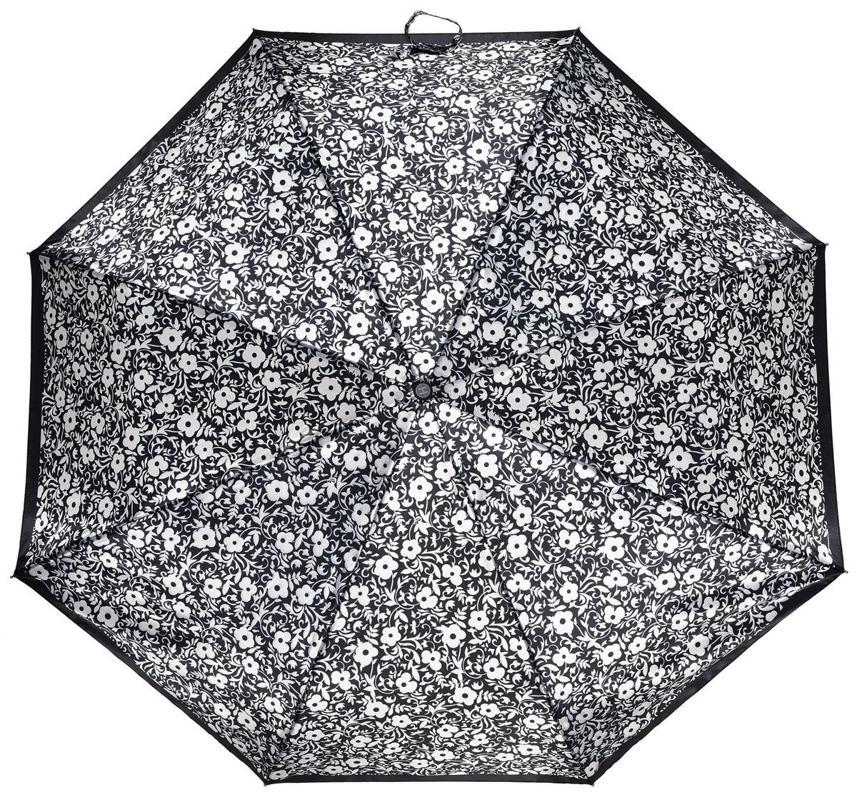 Зонт женский Henry Backer, 3 сложения, цвет: черный. U21202 White flowersU21202 White flowersЭлегантный женский зонт «Белые цветы» с сатиновым куполом, автомат У модели большой ветроустойчивый купол, хорошо защищающий от дождя, и прочный стальной каркас с элементами из фибергласса.