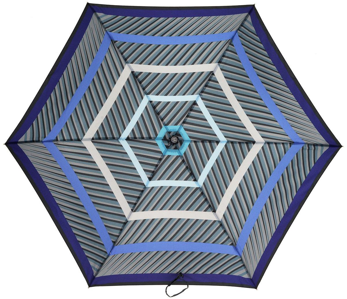 Зонт женский Henry Backer, 3 сложения, цвет: серый. U32202 StripesU32202 StripesСуперлегкий женский зонт «Полоски», синий, механика Компактная рукоятка выполнена из нескользящего, комфортного для ладони материала, ветроустойчивый каркас сделан из алюминия и фибергласса.
