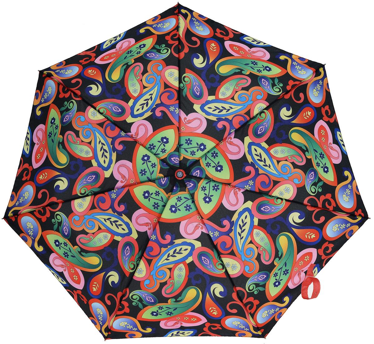 Зонт женский Henry Backer, 3 сложения, цвет: мультиколор. U26201 Bright PaisleyU26201 Bright PaisleyЖивописный женский зонт «Яркие огурцы», автомат У зонта сравнительно легкий для автомата вес благодаря использованию наряду со сталью алюминия и фибергласса. Конструкция каркаса ветроустойчивая.