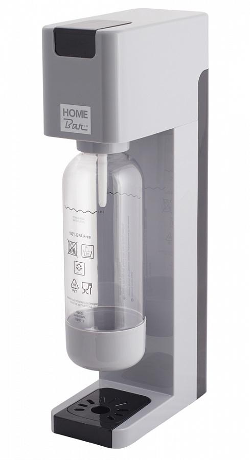 Сифон Home Bar Smart 110 NG, без баллона, цвет: серыйSmart110NG silverСифон для газирования воды SMART 110 NG с автоматическим сбросом давления. Классический дизайн, четкие линии, а также компактные размеры позволяют сифону найти свое достойное место на любой кухне. Предназначен для газирования чистой охлажденной воды. Рекомендуемая температура воды 5С. Для приготовления напитка сироп рекомендуется наливать в отдельную емкость. Автоматический сброс давления. Не требует электроэнергии. Совместим с баллонами SODASTREAM. Вкручивающийся разъем для установки баллона. Состав бутылки не содержит бисфенол A. Совместимость с 1л и 1,5 л бутылкой. Цвет: серый с черными вставками. Комплект: бутылка 1 л. Съемный поддон для капель. Страна производства: ИТАЛИЯ / КНР. Гарантия: 2 года. * Внимание! Для использования сифона требуется баллон 425г. на 60 литров воды. Приобретается отдельно.
