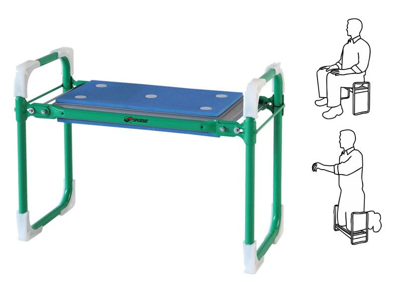Скамейка Skrab, складная садовая. 2815528155Скамейка складная садовая SKRAB Выполнена из стали, имеет сборно-разборную конструкцию с мягким прорезиненным основанием подушки (max нагрузка до 140 кг). Скамейка может использоваться как для отдыха, так и для работы - для посадки, прополки и сбора урожая. При переворачивании на 180° получается удобный подколенник с упорными ручками для опускания на колени и опорой для подъема с колен. Устойчивый каркас из стальной трубки и широкое мягкое сиденье с покрытием из пенополиуретана делают эту скамейку надежной и комфортабельной. Легко складывается и занимает совсем немного места. Вес 3 кг.