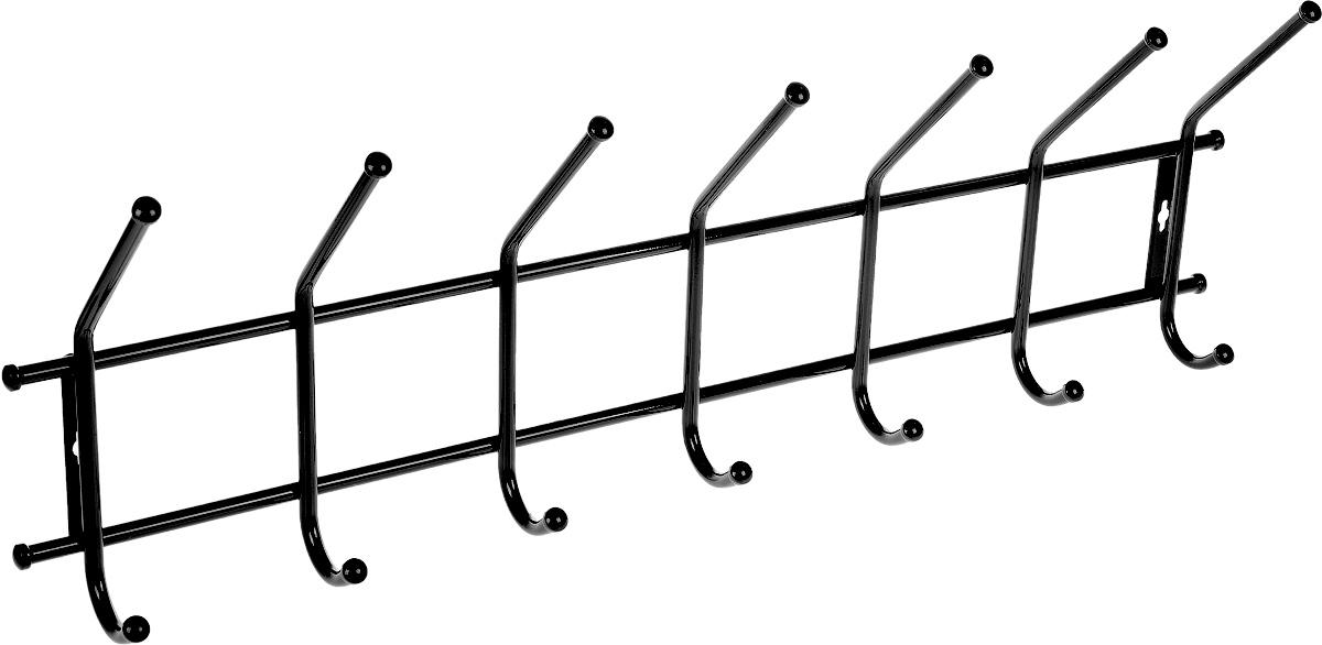 Вешалка ЗМИ Практика 7, цвет: черный, 80 х 27 х 13 смВН 68_черныйМеталлическая вешалка с полимерным покрытием ЗМИ Практика 7 имеет семь парных крючков для одежды. Крепится к стене при помощи двух шурупов (не входят в комплект). Вешалка ЗМИ Практика 7 идеально подходит для маленьких прихожих и ограниченных пространств. На нее удобно вешать одежду, сумки и шарфы. Размер вешалки: 80 см х 27 см х 13 см.