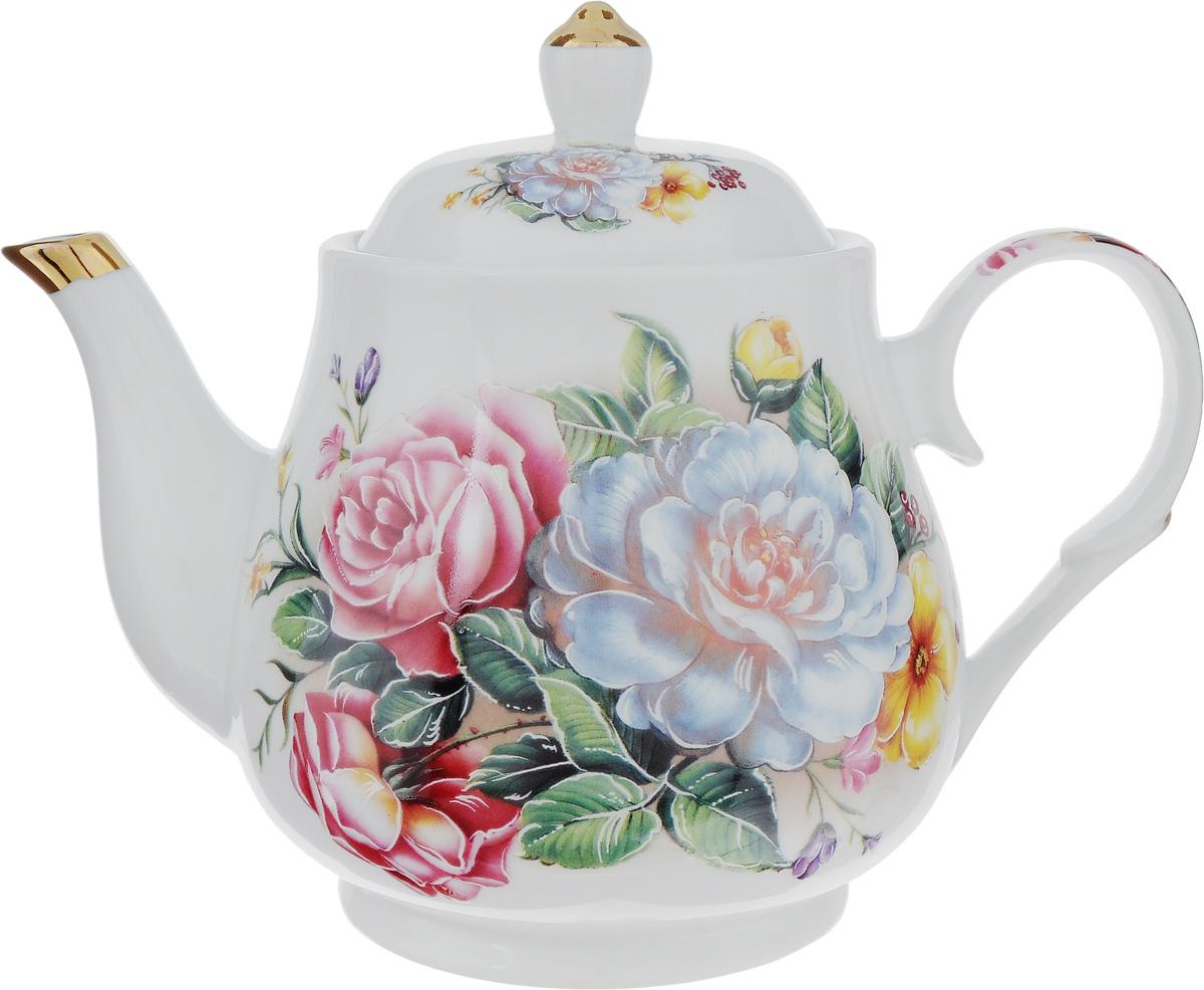 Чайник заварочный Loraine, с фильтром, 1л. 2114221142Заварочный чайник Loraine изготовлен из высококачественной керамики. Он имеет изящную форму и декорирован цветочным рисунком. Чайник сочетает в себе стильный дизайн с максимальной функциональностью. Красочность оформления придется по вкусу и ценителям классики, и тем, кто предпочитает утонченность и изысканность. Чайник упакован в подарочную коробку из плотного картона. Внутренняя часть коробки задрапирована атласом, и чайник надежно крепится в определенном положении благодаря особым выемкам в коробке. Диаметр чайника (по верхнему краю): 9,8 см. Диаметр основания: 9,5 см. Высота чайника ( с учетом крышки): 17,5 см. Высота чайника (без учета крышки): 13 см. Высота фильтра: 5 см.