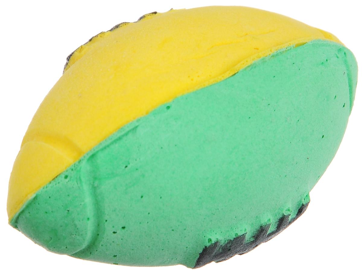 """Игрушка для животных Каскад """"Мячик зефирный. Регби"""", цвет: зеленый, желтый, черный, длина 6 см 27799307_зеленый, желтый"""