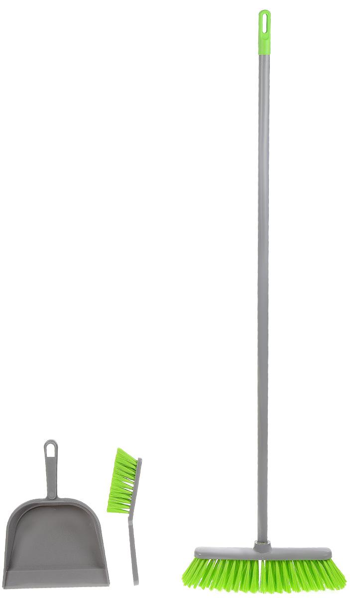 Комплект для уборки York Combi, цвет: серый, салатовый, 3 предмета82010_серый, салатовыйКомплект для уборки York Combi состоит из щетки, щетки-сметки и совка. Все изделия изготовлены из высококачественного пластика. Вместительный совок удерживает собранный мусор, позволит эффективно и быстро совершить уборку в любом помещении, а сглаженный край совка обеспечивает наиболее плотное прилегание к полу. Щетка имеет удобную форму, позволяющую вымести мусор даже из труднодоступных мест. Предметы набора оснащены удобными ручками с отверстиями для подвешивания. С комплектом для уборки York Combi уборка станет легче и приятнее. Ширина совка: 22 см. Глубина совка: 5,5 см. Длина ручки совка: 13 см. Длина рукоятки: 107 см. Размер рабочей поверхности щетки: 28 х 7 х 7 см. Длина щетины щетки: 7 см. Длина щетки-сметки: 27 см. Размер рабочей поверхности щетки-сметки: 13 см х 5 см. Длина щетины щетки-сметки: 5 см.
