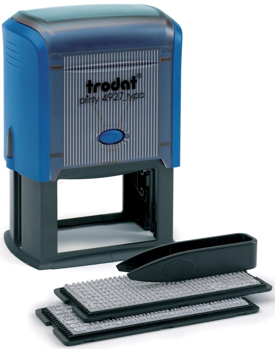 Trodat Штамп самонаборный восьмистрочный Typo 60 х 40 мм4927/DBСамонаборный русифицированный штамп Trodat с автоматическим окрашиванием будет незаменим в отделе кадров или в бухгалтерии любой компании. Прочный пластиковый корпус гарантирует долговечное бесперебойное использование. Модель отличается высочайшим удобством в использовании и оптимально ложится в руку благодаря эргономичной ручке. Оттиск проставляется практически бесшумно, легким нажатием руки. Улучшенная конструкция и видимая площадь печати гарантируют качество и точность оттиска. Символы надежно закрепляются в текстовой пластине (две ножки). Максимальное количество знаков в строке основного шрифта - 36, шрифта для выделения текста - 25. Максимальное количество строк - 6 + дата. Месяц буквами. Язык - русский. Модель оснащена кнопочным механизмом замены подушки. Сменную штемпельную подушку необходимо заменять при каждом изменении текста. В комплект также входят: сменная подушка, пинцет, 2 кассы символов. Trodat - идеальный штамп для ежедневного...