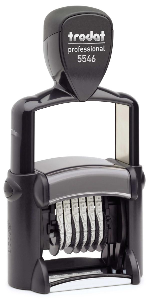 Trodat Нумератор шестиразрядный цвет черный 4 мм5546Однострочный шестиразрядный нумератор с автоматической оснасткой Trodat будет незаменим в отделе кадров или в бухгалтерии любой компании. Компактный, но прочный металлический корпус гарантирует долговечное бесперебойное использование. Модель отличается высочайшим удобством в использовании и оптимально ложится в руку благодаря эргономичной ручке. Высота шрифта - 4 мм. Используется для нумерации документов, проставления артикулов на товарах. Номер устанавливается вручную с помощью колесиков.