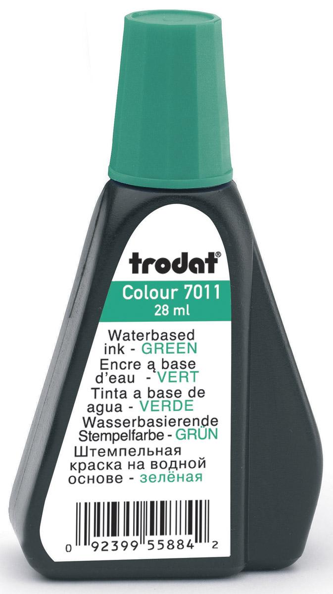 Trodat Штемпельная краска зеленая 28 мл7011зШтемпельная краска на водной основе. Используется для всех видов бумаги, кроме глянцевой. Флакон снабжен дозатором, обеспечивающим равномерное нанесение краски на подушку. Не содержит спирт, не портит печати из полимера.Объем флакона - 28 мм. Цвет - зеленый