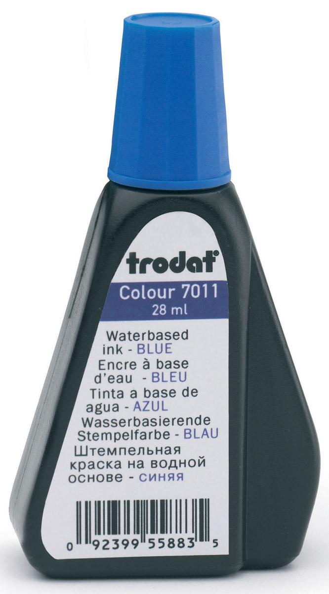 Trodat Штемпельная краска синяя 28 мл7011сШтемпельная краска на водной основе Trodat используется для всех видов бумаги, кроме глянцевой. Флакон снабжен дозатором, обеспечивающим равномерное нанесение краски на подушку. Не содержит спирт, не портит печати из полимера. Объем флакона - 28 мл. Цвет - синий.