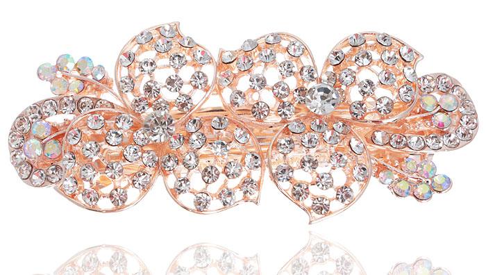 Заколка для волос Весенний вальс от D.Mari. Кристаллы Aurora Borealis, прозрачные кристаллы и стразы, бижутерный сплав золотого тона. ГонконгPD518Заколка для волос Весенний вальс от D.Mari. Кристаллы Aurora Borealis, прозрачные кристаллы и стразы, бижутерный сплав золотого тона. Гонконг. Размер - 9 х 4 см.