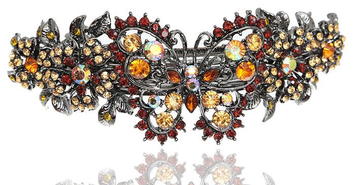 Заколка для волос в византийском стиле от D.Mari. Кристаллы Aurora Borealis, кристаллы и стразы золотистого цвета, бижутерный сплав серебряного тона. Гонконг