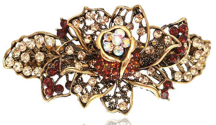 Заколка для волос в византийском стиле от D.Mari. Кристаллы Aurora Borealis, кристаллы золотистого и янтарного цвета, бижутерный сплав