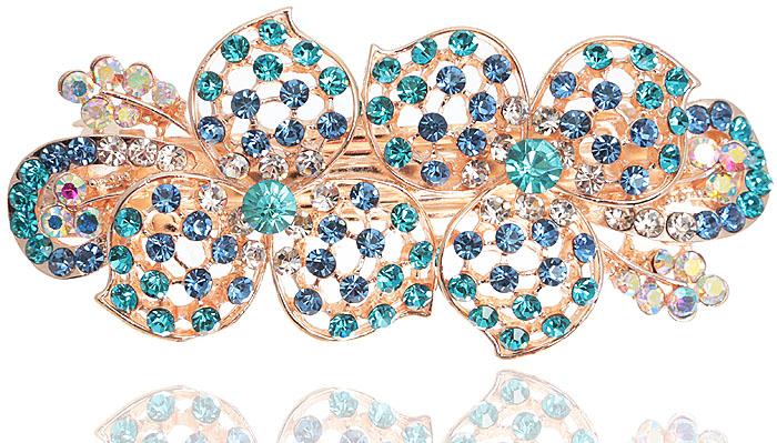 Заколка для волос Весеннее утро от D.Mari. Кристаллы Aurora Borealis, кристаллы голубого и синего цвета, бижутерный сплав золотого тона. ГонконгИНКОСЗаколка для волос Весеннее утро  от D.Mari. Кристаллы Aurora Borealis, кристаллы голубого и синего цвета, бижутерный сплав золотого тона. Гонконг. Размер - 9 х 4 см.