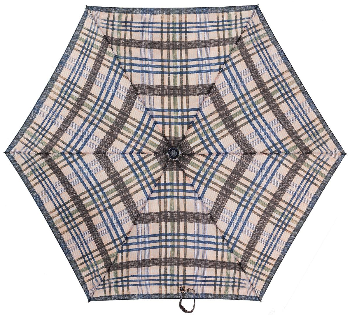Зонт женский Henry Backer, 3 сложения, цвет: бежевый. U32201 Grey checkU32201 Grey checkСуперлегкий женский зонт «Серая клетка», механика Компактная рукоять выполнена из нескользящего материала, ветроустойчивый каркас сделан из алюминия и фибергласса.