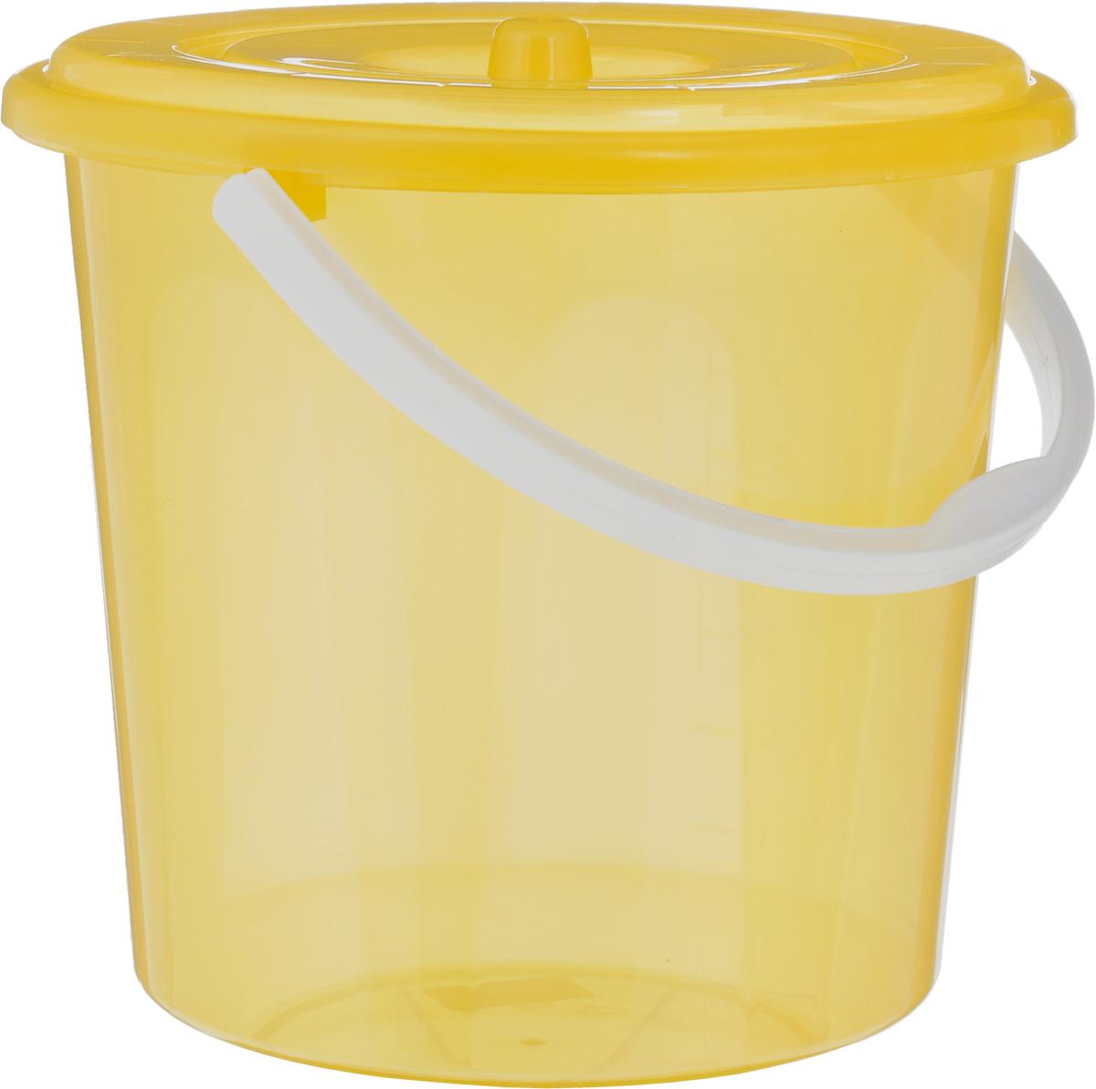 Ведро Альтернатива Хозяюшка, с крышкой, цвет: желтый, 10 лМ1213_желтыйВедро Альтернатива Хозяюшка изготовлено из высококачественного пластика и оснащено отметками литража. Оно легче железного и не подвержено коррозии. Ведро имеет удобную пластиковую ручку и закрывается крышкой. Такое ведро станет незаменимым помощником в хозяйстве. Идеально для хранения пищевых отходов. Диаметр: 27 см. Высота (без учета крышки): 26 см.