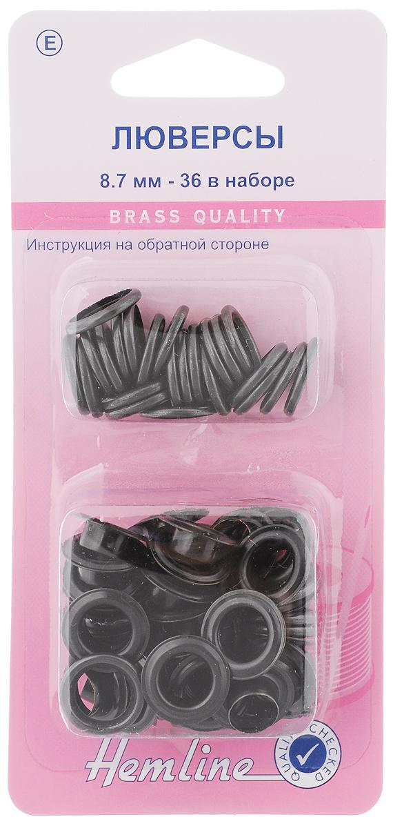 Люверсы Hemline, цвет: черный, тип E, 8,7 мм, 36 шт438R.8.BЛюверсы Hemline, выполненные из прочного металла, предназначены для укрепления краев отверстий, использующихся для продевания веревок, шнуров, тесьмы, тросов, а также для декорирования средних и тяжелых вещей. В комплекте 36 люверсов. Для обеспечения толщины между слоями ткани не менее 1-2 мм рекомендуется использовать подкладочную ткань.