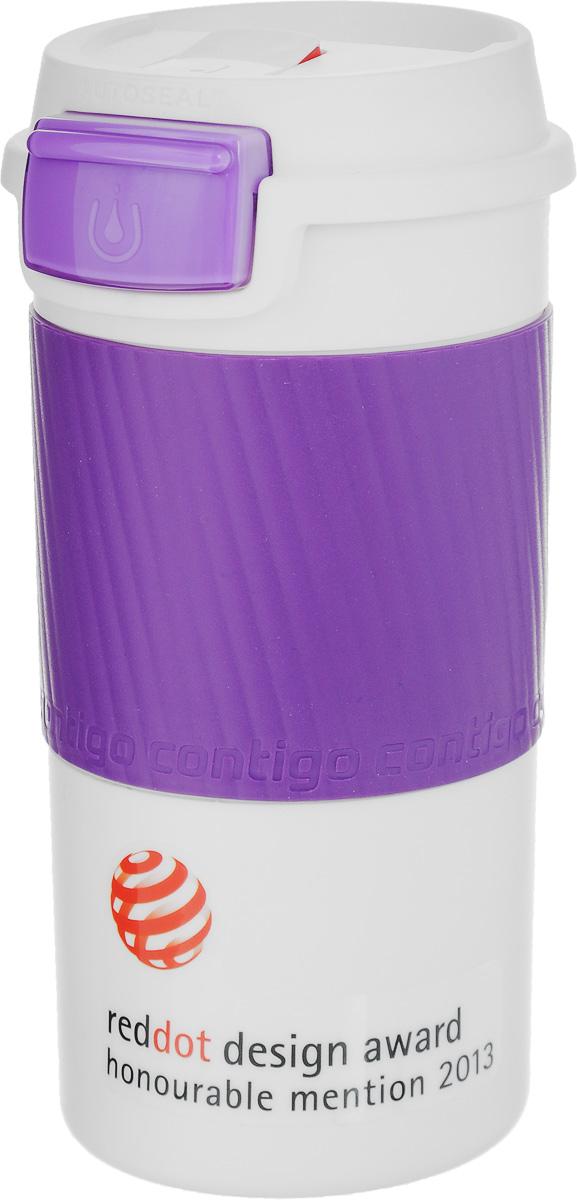 Термокружка Contigo Morgan, с замком, цвет: белый, фиолетовый, 360 млcontigo0145Термокружка Contigo Morgan, изготовленная из пищевого пластика, подходит как для холодных, так и для горячих напитков. Изделие оснащено крышкой с кнопкой, при нажатии на которую вы сможете попить. Также кнопка помогает избавиться от давления, накопленного в кружке. Специальный замок предохранит кнопку от случайного нажатия. Благодаря двойным стенкам кружки вы не обожжетесь, держа ее в руках. Резиновый ободок на корпусе обеспечивает надежный хват и комфорт во время использования кружки. Держит напиток горячим 1 час, холодным - 4 часа. Не содержит Бисфенол А. Диаметр (по верхнему краю): 7,5 см. Высота кружки (с учетом крышки): 16,5 см.