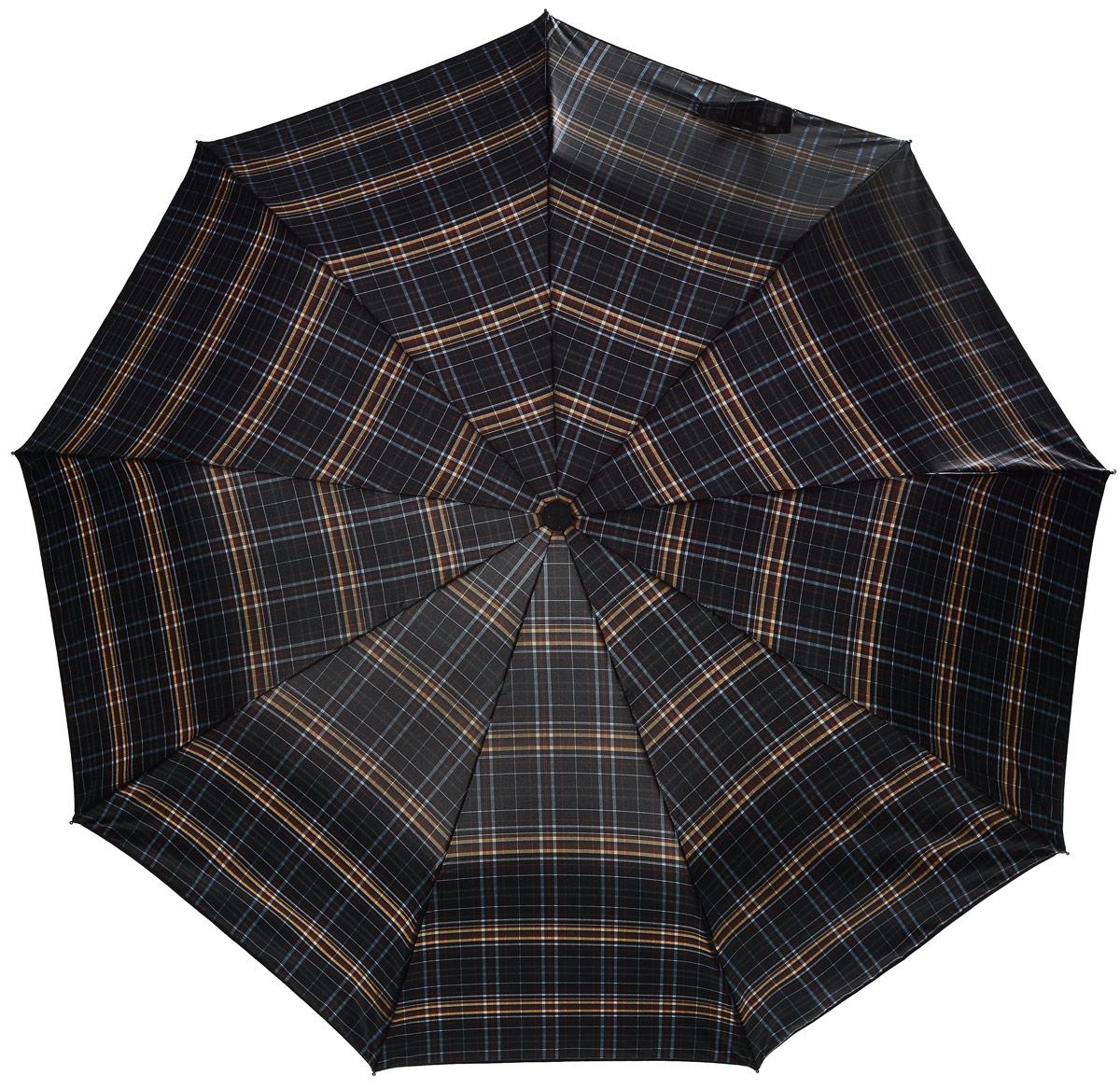Зонт Sponsa , клетка, цвет: черный, бежевый, коричневый