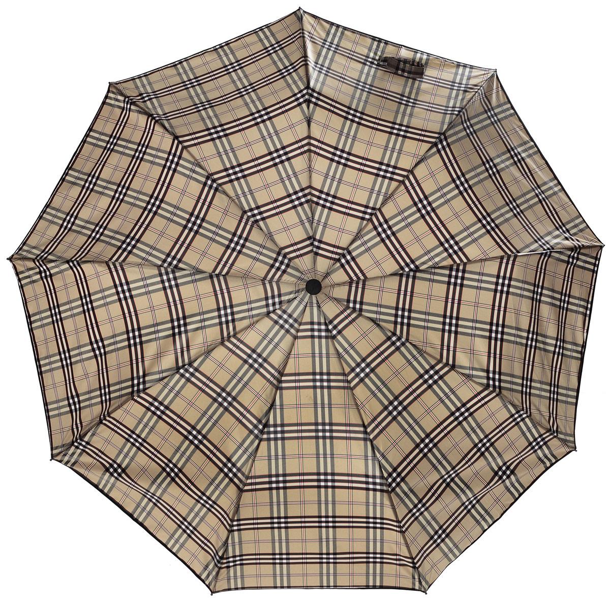 Зонт Sponsa , клетка, цвет: бежево-серый