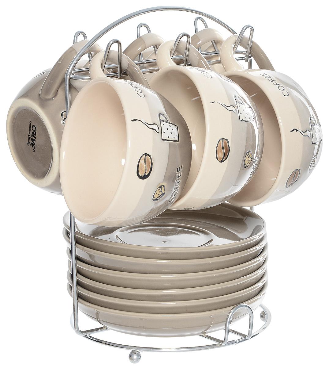 Набор чайный Calve. Кофе, на подставке, 13 предметовCL-2022Набор Calve. Кофе состоит из шести чашек и шести блюдец, изготовленных из высококачественной керамики. Чашки оформлены стильным рисунком и надписями. Изделия расположены на металлической подставке. Такой набор подходит для подачи чая или кофе. Изящный дизайн придется по вкусу и ценителям классики, и тем, кто предпочитает утонченность и изысканность. Он настроит на позитивный лад и подарит хорошее настроение с самого утра. Чайный набор Calve. Кофе - идеальный и необходимый подарок для вашего дома и для ваших друзей в праздники. Можно мыть в посудомоечной машине. Объем чашки: 220 мл. Диаметр чашки (по верхнему краю): 9,5 см. Высота чашки: 6,3 см. Диаметр блюдца: 14,5 см. Высота блюдца: 2,3 см. Размер подставки: 16,5 х 16 х 22,5 см.