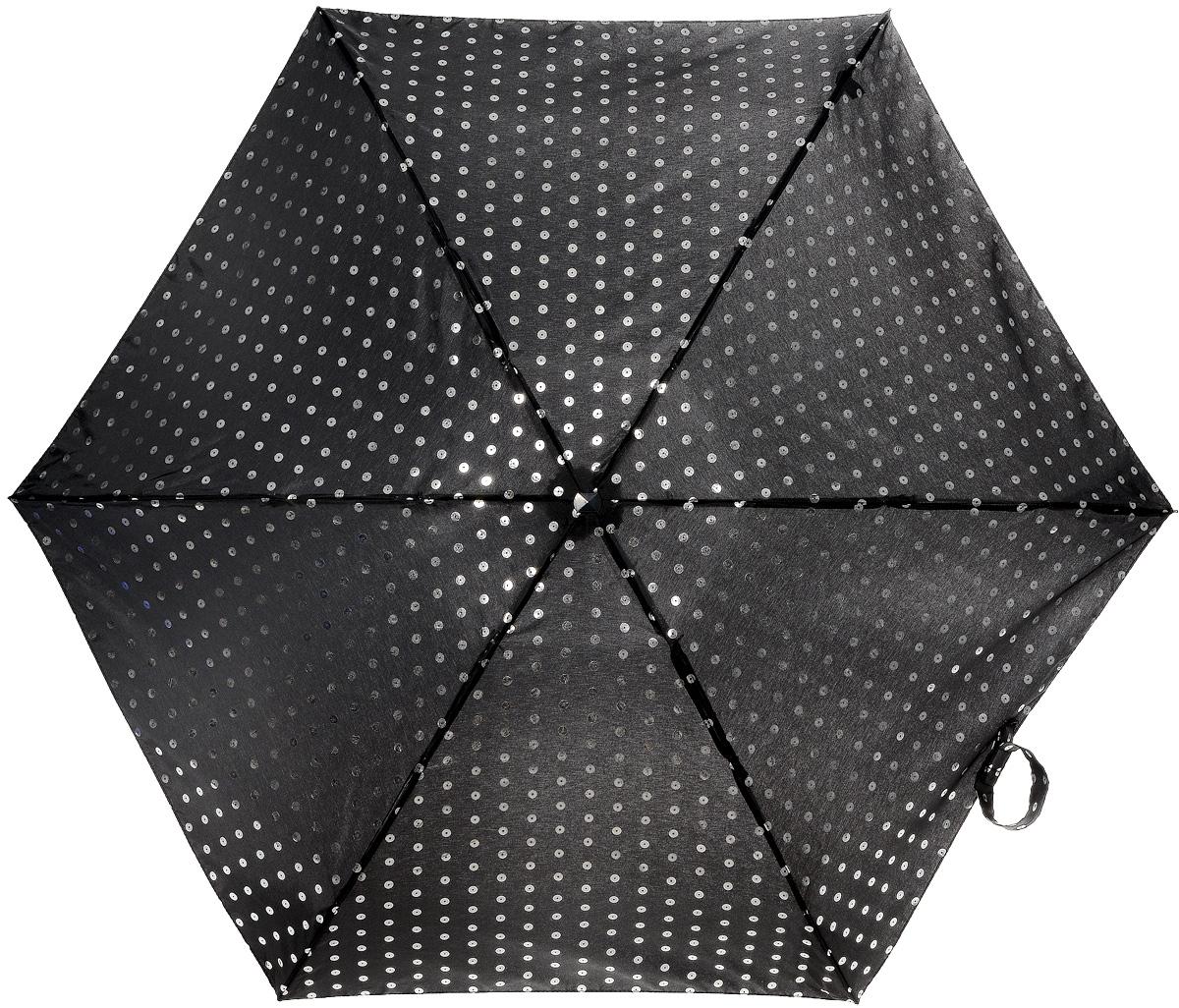 Зонт женский механика Fulton, расцветка: серебряные пайетки. L501-2613 FoilSequinL501-2613 FoilSequinПрочный, необыкновенно компактный зонт, который с легкостью поместится в маленькую сумочку. Удобный плоский чехол. Облегченный алюминиевый каркас с элементами из фибергласса. Ветроустойчивая конструкция. Размеры зонта в сложенном виде 15смх6смх3см, диаметр купола 87 см.