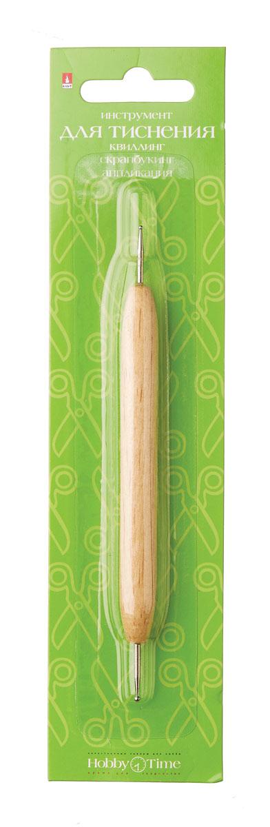 Альт Инструмент для тиснения2-197Металлические шарики на концах сделаны из неокисляющегося металла. Предназначен для работы с бумагой и тонким картоном. Деревянная ручка с металлическими шариками диаметром 0.8 и 1.3 мм.