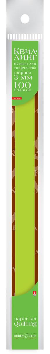 Альт Бумага для квиллинга 3 мм 100 полос цвет зеленый 2-069/03