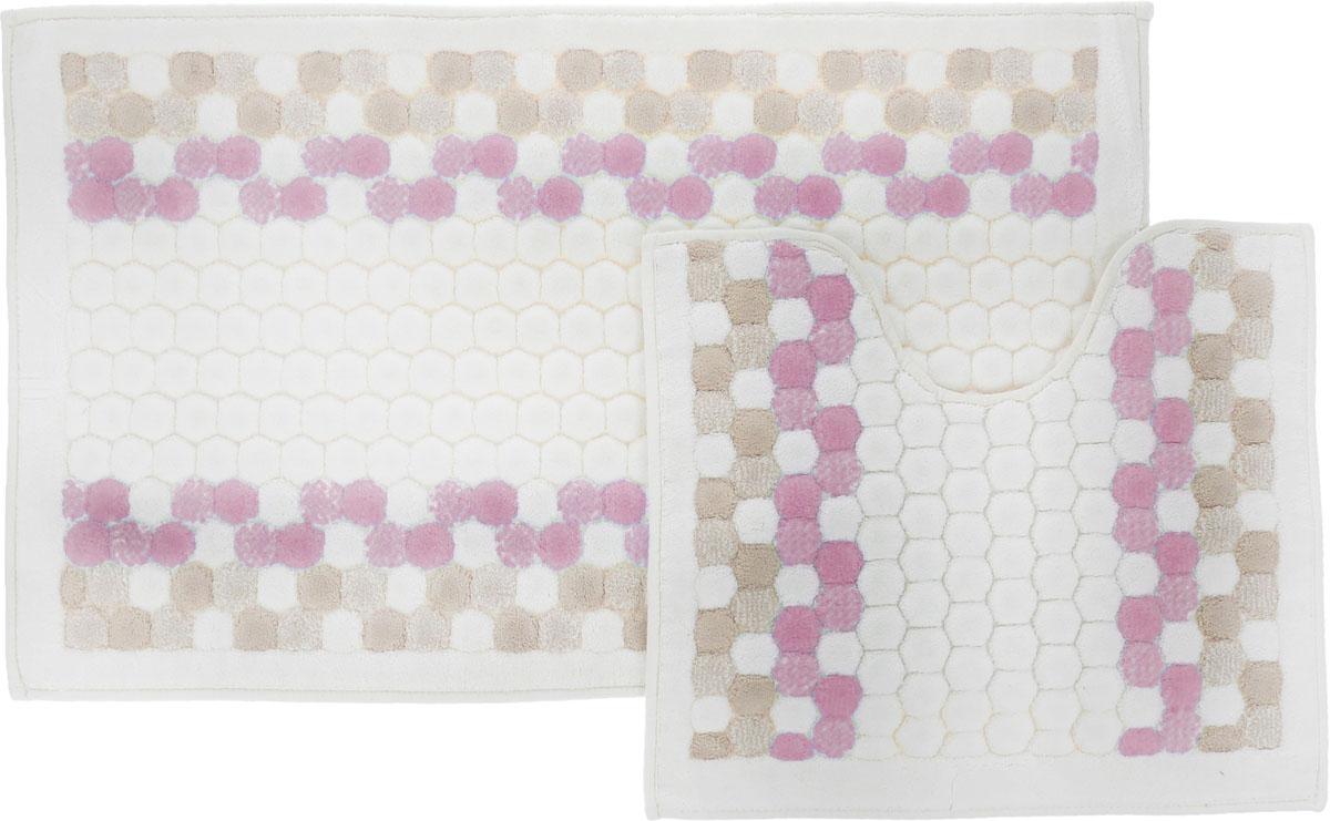 Набор ковриков для ванной Arya Inci, цвет: сухая роза, молочный, бежевый, 2 штTR1000777Сухая РозаНеобыкновенные коврики для ванной Arya Inci обладают эффектным дизайном, мягким и легким в уходе ворсом, нежным естественным оттенком, а также насыщенным цветом. Набор состоит из двух ковриков, выполненных из хлопка и вискозы. Верхняя часть из ворса 4 мм. Коврики украшены рисунком, который придаст еще большей элегантности дизайну ванной комнаты. Особенности изделий: Края ковриков обработаны. Коврики не требовательны в уходе, если они чрезмерно не пачкаются и не загрязняются. В зависимости от интенсивности использования достаточно раз в месяц или в три месяца привести их в порядок. Коврики легко сворачиваются или складываются и помещаются в емкость для стирки. Данные коврики легко выдержат машинную стирку на бережном цикле при 30°С. Хорошо впитывают влагу, быстро сохнут. Коврик - это необходимый предмет, без которого невозможен комфорт и уют в ванной комнате. Размер ковриков: 60 х 100 см, 50 х 60 см.