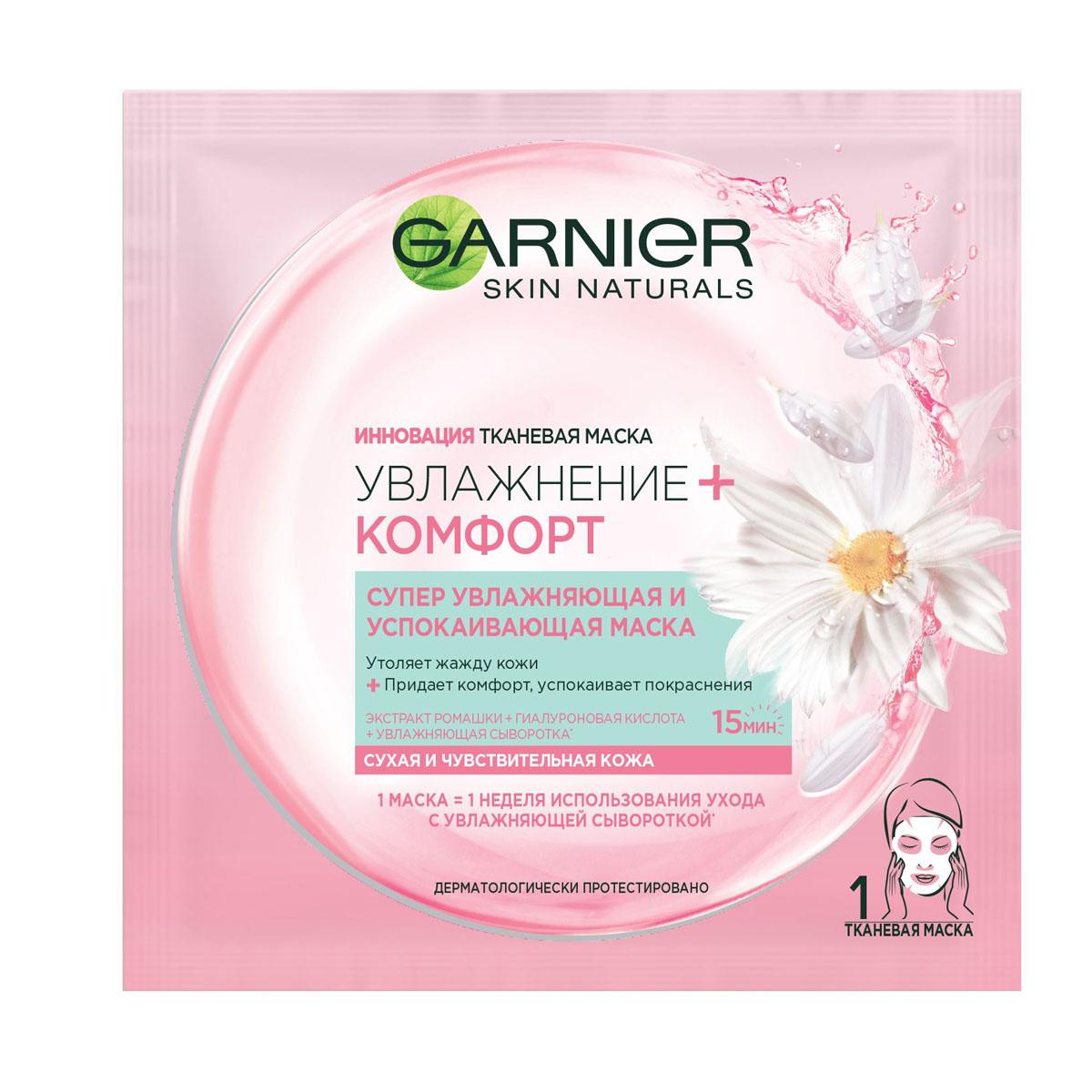 Garnier Тканевая маска Увлажнение + Комфорт, супер увлажняющая и успокаивающая, для сухой и чувствительной кожи, 32 гр