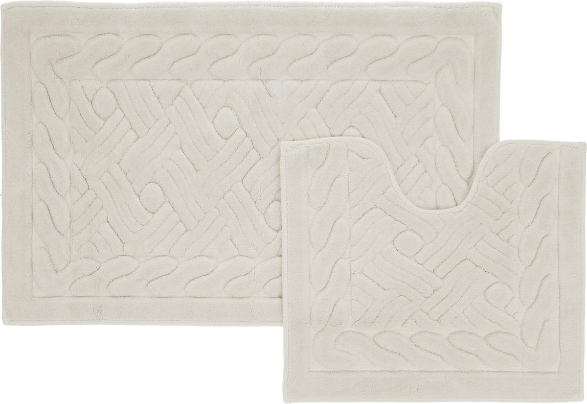 Набор ковриков для ванной Arya Assos, цвет: слоновая кость, 2 штTR1001008Слоновая КостьНеобыкновенные коврики для ванной Arya Assos обладают эффектным дизайном, мягким и легким в уходе ворсом, нежным естественным оттенком, а также насыщенным цветом. Набор состоит из двух ковриков, выполненных из хлопка и вискозы. Верхняя часть из ворса 4 мм. Коврики украшены рисунком, который придаст еще большей элегантности дизайну ванной комнаты. Особенности изделий: Края ковриков обработаны. Коврики не требовательны в уходе, если они чрезмерно не пачкаются и не загрязняются. В зависимости от интенсивности использования достаточно раз в месяц или в три месяца привести их в порядок. Коврики легко сворачиваются или складываются и помещаются в емкость для стирки. Данные коврики легко выдержат машинную стирку на бережном цикле при 30°С. Хорошо впитывают влагу, быстро сохнут. Коврик - это необходимый предмет, без которого невозможен комфорт и уют в ванной комнате. Размер ковриков: 60 х 100 см, 50 х 60 см.