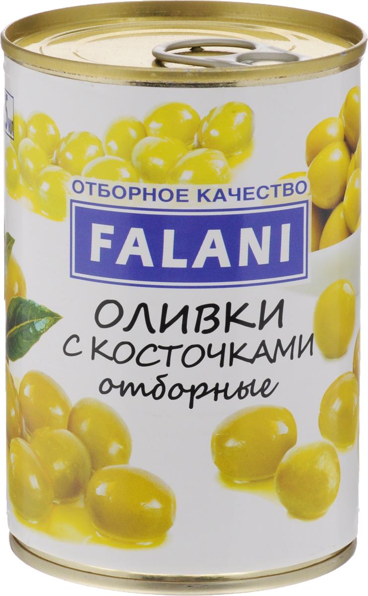FALANI оливки отборные крупные с косточкой, 390 г