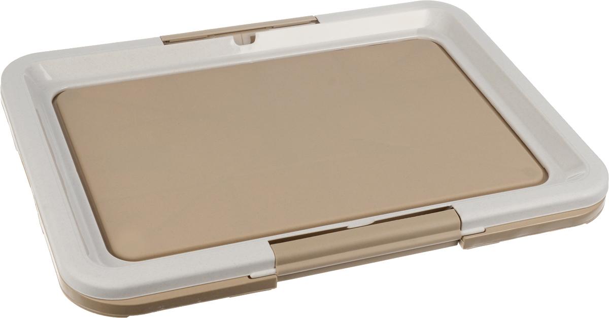 Туалет для собак Каскад, под пеленки, цвет: серый, светло-коричневый, 63 х 48 х 4 см9312222_серый, светло-коричневыйТуалет Каскад, изготовленный из высококачественного пластика, предназначен для собак и щенков. Гигиеническая пеленка помещается под борт и удерживается боковыми фиксаторами. Туалет легко моется водой. Гигиеническая пеленка в комплект не входит.