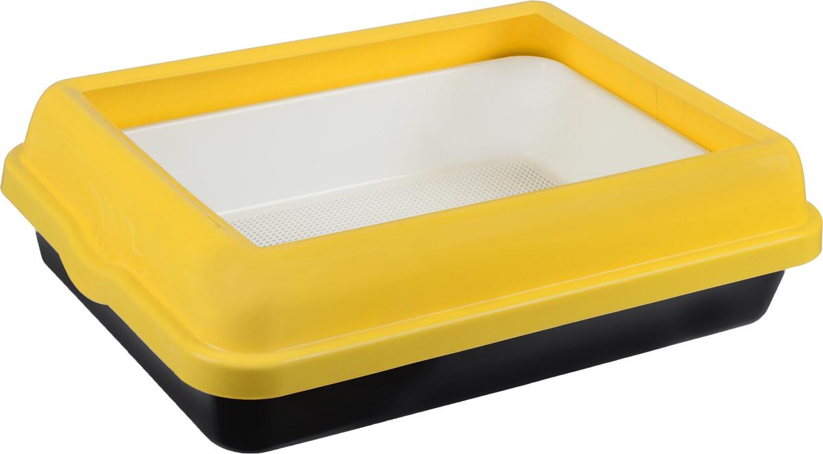 Туалет для кошек Каскад, с бортом и сеткой, цвет: белый, желтый, черный, 55 х 42 х 16 см9312217_белый, желтый, черныйТуалет для кошек Каскад, выполненный из прочного пластика, оснащен съемной сеткой. Высокий борт, прикрепленный по периметру лотка, удобно защелкивается и предотвращает разбрасывание наполнителя. Благодаря качественным материалам лоток легко убирается, быстро сохнет и не впитывает посторонние запахи.
