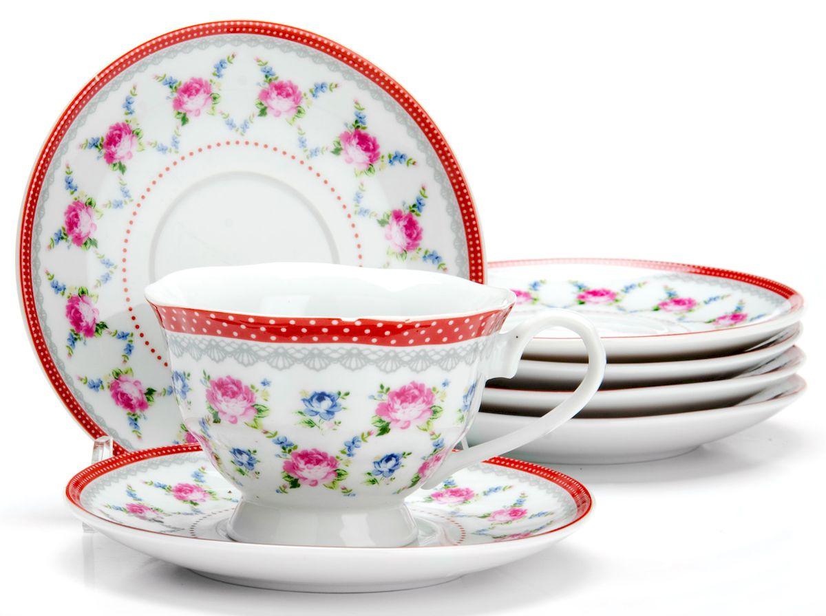 Чайный сервиз Loraine Цветы, 150 мл, 12 предметов. 2592125921