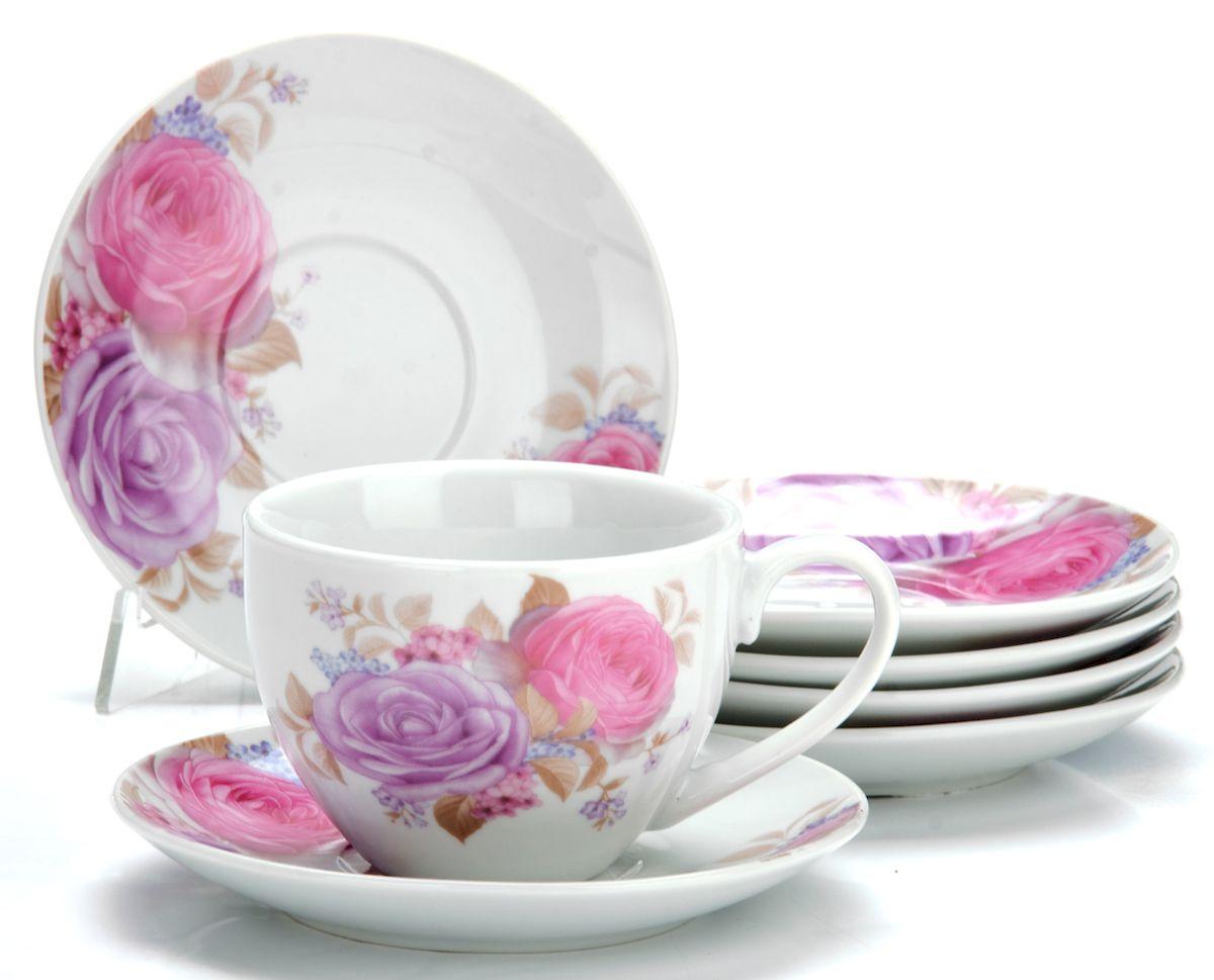 Набор чайный Loraine Цветы, 12 предметов25927Чайный набор Loraine Цветы состоит из шести чашек и шести блюдец, выполненных из высококачественного фарфора. Изделия оформлены ярким рисунком. Изящный набор эффектно украсит стол к чаепитию и порадует вас функциональностью и ярким дизайном. Набор упакован в красивую коробку и может послужить отличным подарком. Можно мыть в посудомоечной машине. Диаметр чашки (по верхнему краю): 9 см. Высота чашки: 6,5 см. Объем чашки: 220 мл. Диаметр блюдца: 13,5 см. Высота блюдца: 2 см.