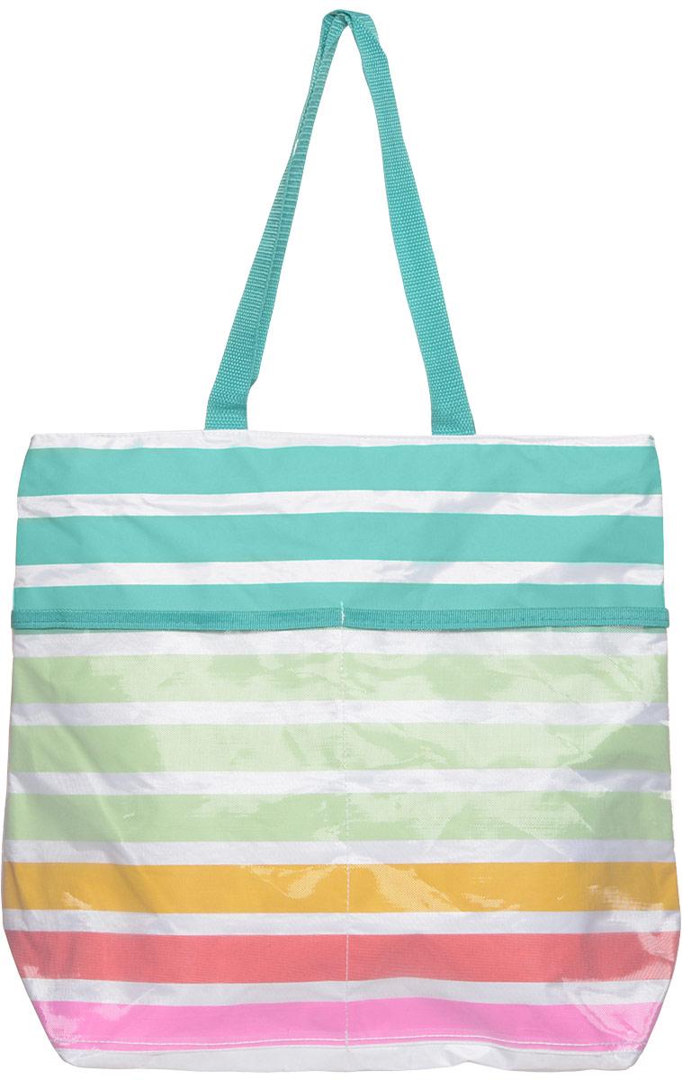 Сумка пляжная Venera, цвет: голубой, бирюза, красный. 1201156-11201156-1Нежная и яркая сумка будет ноткой свежести в вашем наряде. Сумка выполнена в спокойных тонах омолаживает и придает легкости каждой женщине, которая будет ее носить, а деликатные голубые ручки идеально подходят для яркого летнего наряда.