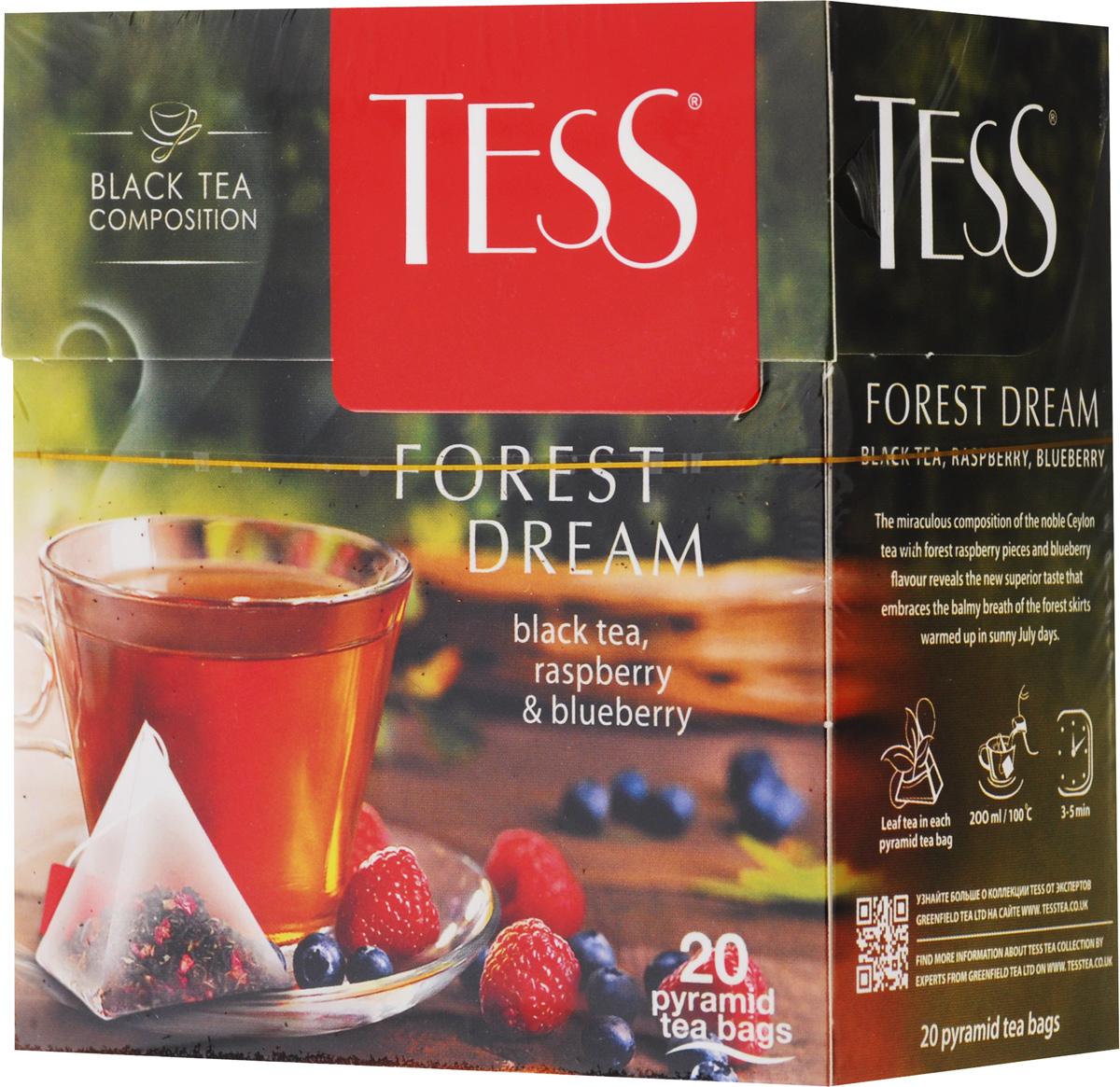 Tess Forest Dream черный чай в пирамидках, со вкусом малины и черники. 20 шт0784-12Чудесная композиция благородного цейлонского чая с кусочками ежевики и лесной малины открывает новый великолепный вкус Tess Forest Dream, в котором слышится благоухание лесной опушки, согретой июльским солнцем.
