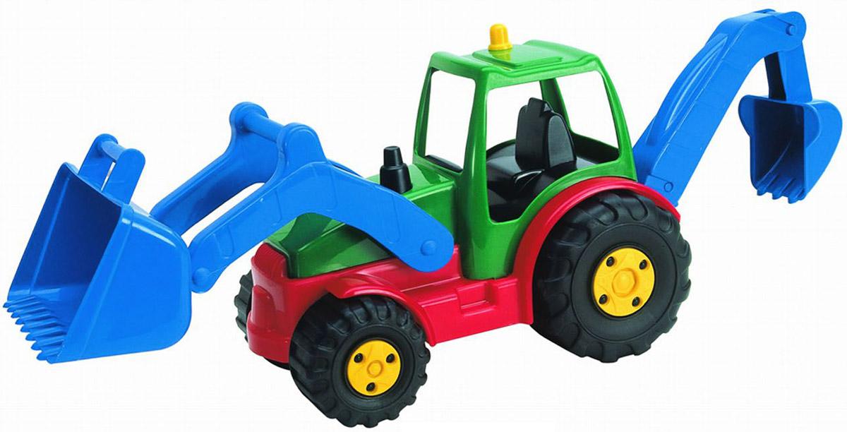 AVC Трактор01/5192Яркий трактор AVC, выполненный из прочного безопасного пластика красного, зеленого и синего цветов, отлично подойдет ребенку для различных игр. Трактор оснащен большим ковшом, с помощью которого можно перемещать различные материалы (камни, песок, строительный мусор), и ковшом обратной лопаты. Оба ковша обладают подвижной конструкцией. В просторную кабину можно поместить небольшую игрушку. Большие крутящиеся колеса обеспечивают игрушке устойчивость и хорошую проходимость. Игрушка развивает концентрацию внимания, цветовое восприятие, воображение, а также моторику рук. Ваш ребенок непременно обрадуется новому транспорту в своем игрушечном автопарке. Порадуйте его таким замечательным подарком!