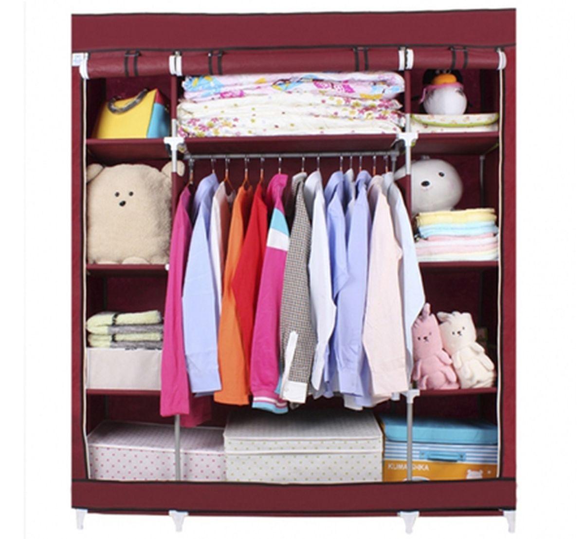 Шкаф Homsu Маджорити, цвет: бордовый, 140 x 50 x 175 смHOM-100Шкаф Homsu Маджорити выполнен из текстиля. Сборная конструкция такого шкафа состоит из металлических деталей каркаса, обтянутых сверху прочной и легкой тканью. Этот шкаф предназначен в создании полноценного порядка. Изделие имеет 8 полок для складывания одежды 35 х 50 см и один большой 70 х 50 см отделениями, а также отделению для подвешивания одежды высотой 120 см и шириной 70 см. Кроме своей большой практичной пользы, данный мебельный предмет также сможет очень выгодно дополнить имеющийся интерьер в помещении. Верхняя тканевая обивка, при этом, всегда может быть легко и быстро снята, если ее необходимо будет постирать или заменить.