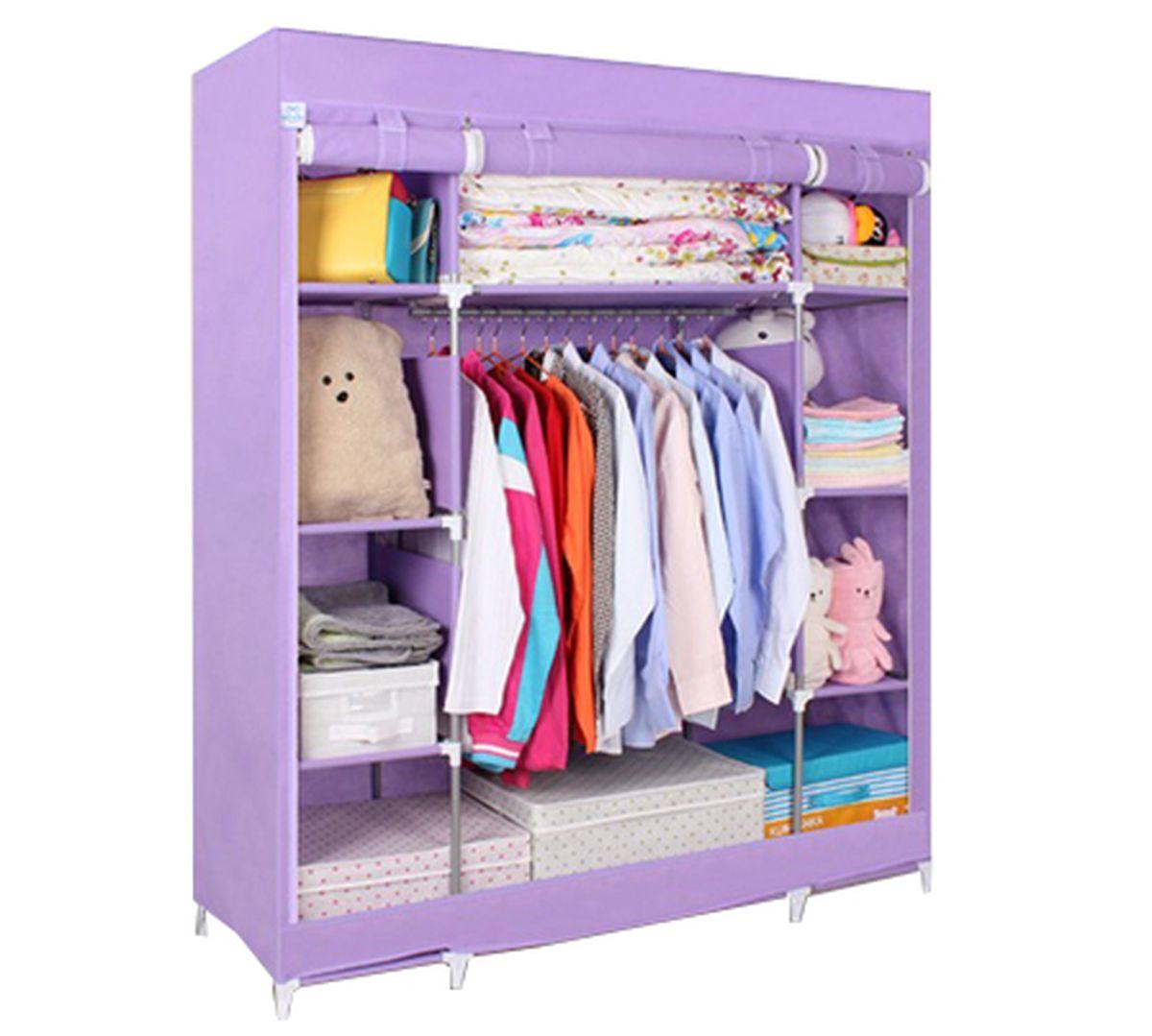 Шкаф Homsu Маджорити, цвет: фиолетовый, 140 x 50 x 175 смHOM-110Шкаф Homsu Маджорити выполнен из текстиля. Сборная конструкция такого шкафа состоит из металлических деталей каркаса, обтянутых сверху прочной и легкой тканью. Этот шкаф предназначен в создании полноценного порядка. Изделие имеет 8 полок для складывания одежды 35 х 50 см и один большой 70 х 50 см отделениями, а также отделению для подвешивания одежды высотой 120 см и шириной 70 см. Кроме своей большой практичной пользы, данный мебельный предмет также сможет очень выгодно дополнить имеющийся интерьер в помещении. Верхняя тканевая обивка, при этом, всегда может быть легко и быстро снята, если ее необходимо будет постирать или заменить.