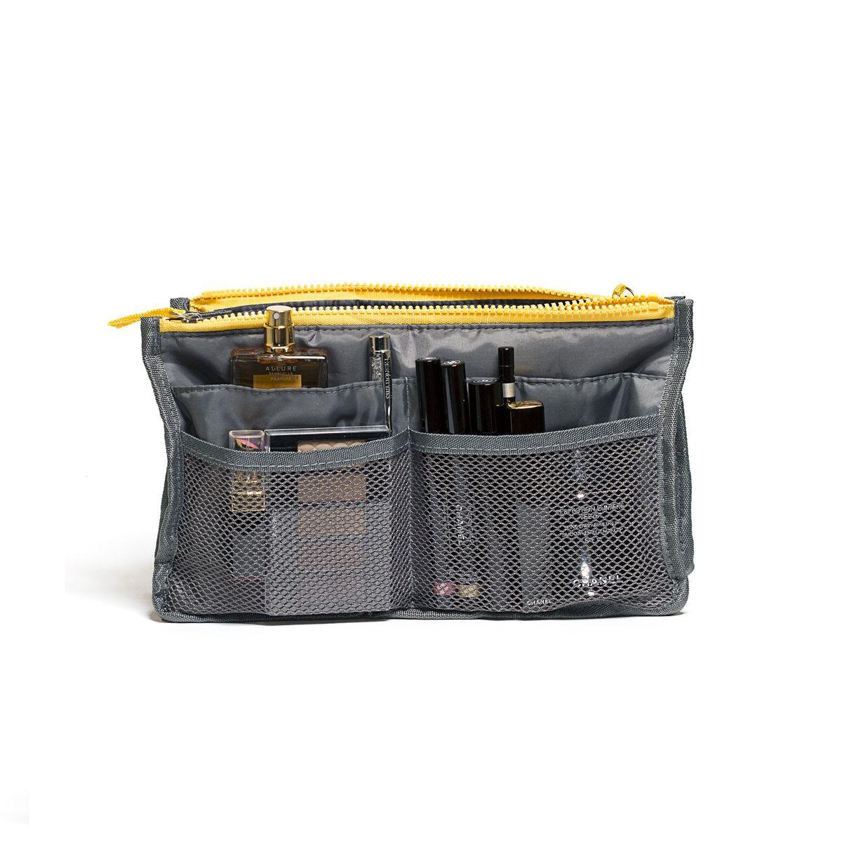 Органайзер для сумки Homsu, цвет: серый, 30 x 8,5 x 18,5 смHOM-137Этот органайзер для сумки благодаря трем вместительным отделениям для вещей, четырем кармашкам по бокам и шести кармашкам в виде сетки обеспечит полный порядок в вашей сумке. Кроме того, изделие обладает интересным стилем, выполнено в сером цвете и оснащёно двумя крепкими ручками, что позволяет применять его и вне сумки, как отдельный аксессуар. Фактический цвет может отличаться от заявленного.