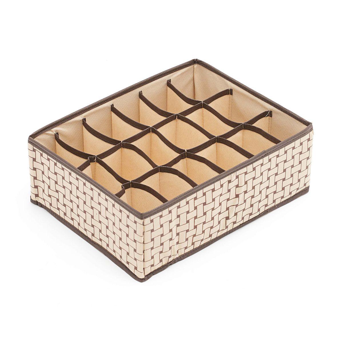 Органайзер Homsu Pletenka, на 18 секций, 31 x 24 x 11 смHOM-161Квадратный и плоский органайзер с 18 раздельными ячейками 7 см на 5 см очень удобен для хранения мелких вещей в вашем ящике или на полке. Идеально для носков, платков, галстуков и других вещей ежедневного пользования. Имеет жесткие борта, что является гарантией сохраности вещей. Фактический цвет может отличаться от заявленного.