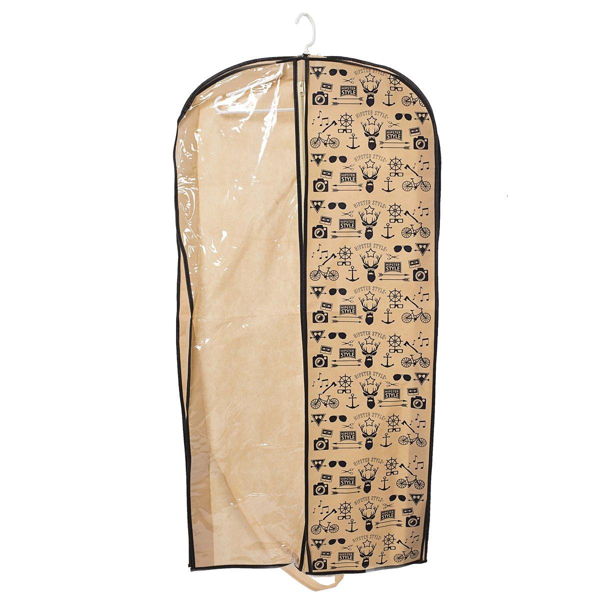 Чехол для одежды Homsu Hipster Style, подвесной, с прозрачной вставкой, 120 x 60 x 10 смHOM-202Подвесной чехол для одежды Homsu Hipster Style на застежке-молнии выполнен из высококачественного нетканого материала. Чехол снабжен прозрачной вставкой из ПВХ, что позволяет легко просматривать содержимое. Изделие подходит для длительного хранения вещей. Чехол обеспечит вашей одежде надежную защиту от влажности, повреждений и грязи при транспортировке, от запыления при хранении и проникновения моли. Чехол позволяет воздуху свободно поступать внутрь вещей, обеспечивая их кондиционирование. Это особенно важно при хранении кожаных и меховых изделий. Чехол для одежды Homsu Hipster Style создаст уютную атмосферу в гардеробе. Лаконичный дизайн придется по вкусу ценительницам эстетичного хранения и сделают вашу гардеробную изысканной и невероятно стильной. Размер чехла: 120 х 60 х 10 см.
